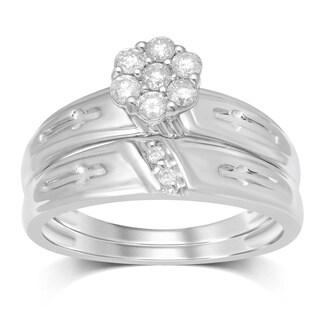 Unending Love 1/3ct TW 10k White Gold 7 Stone Round Flower Top Bridal Set