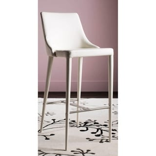 Safavieh Mid-Century Dining Summerset Modern 42-inch White Leather Bar Stool