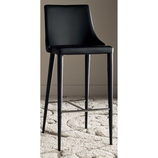 Safavieh Mid-Century Dining Summerset Modern 42-inch Black Leather Bar Stool