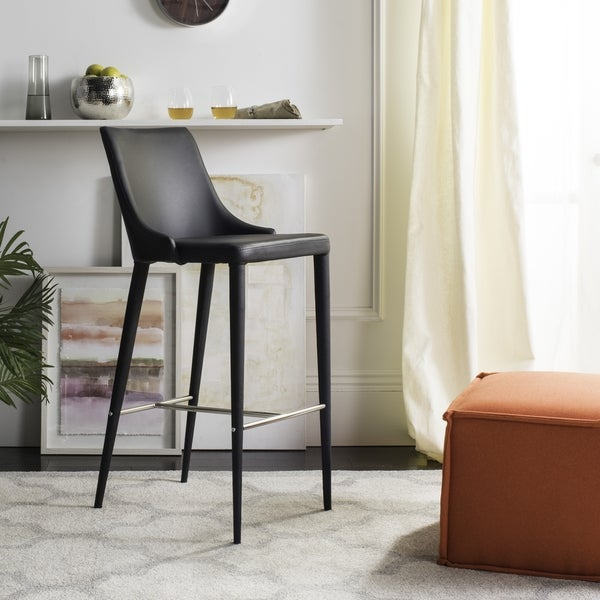 safavieh midcentury dining summerset modern 42inch black leather bar stool