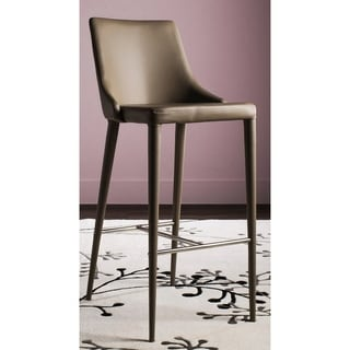 "Link to Safavieh Mid-Century Dining Summerset Modern 42-inch Taupe Leather Bar Stool - 21.2"" x 18.9"" x 41.8"" Similar Items in Dining Room & Bar Furniture"