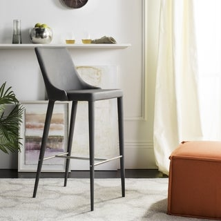 "Safavieh Mid-Century Dining Summerset Modern 42-inch Grey Leather Bar Stool - 21.2"" x 18.9"" x 41.8"""