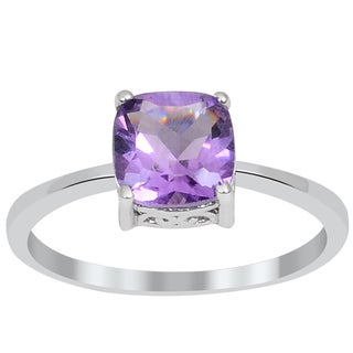 Orchid Jewelry Sterling Silver 1.50ct Genuine Amethyst Ring