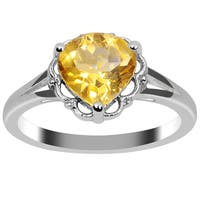 Orchid Jewelry Sterling Silver 1.55ct Genuine Citrine Ring