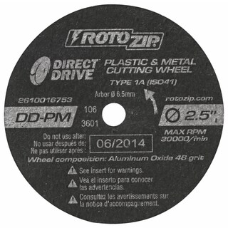 """Rotozip DD-PM5 2-1/2"""" Direct Drive Cut-Off Wheel 5-count"""