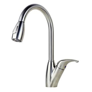 Solid Stainless Steel Tulip-style Single-handle Lead-free Kitchen Faucet with Pull-out Nozzle Sprayer
