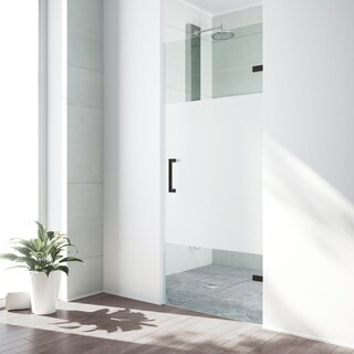 VIGO SoHo 28-inch Adjustable Frameless Shower Door with Privacy Panel Glass and Antique Rubbed Bronze Hardware