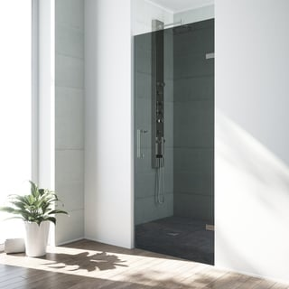 VIGO SoHo 28-inch Adjustable Frameless Shower Door with Sheer Black Glass and Stainless Steel Hardware