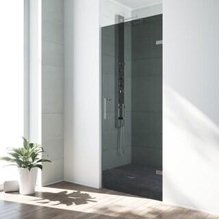 VIGO SoHo 28-inch Adjustable Frameless Shower Door with Sheer Black Glass and Chrome Hardware