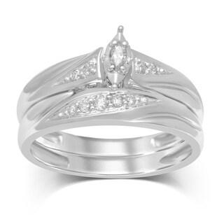 Unending Love 1/6cttw 10k White Gold Marquise Bridal Set