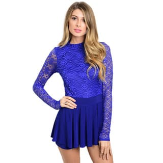 Shop the Trends Women's Blue/White/Beige Nylon/Spandex Long Lace Sleeve Romper With Mock Neckline and Lined Bodice|https://ak1.ostkcdn.com/images/products/12076985/P18943438.jpg?impolicy=medium