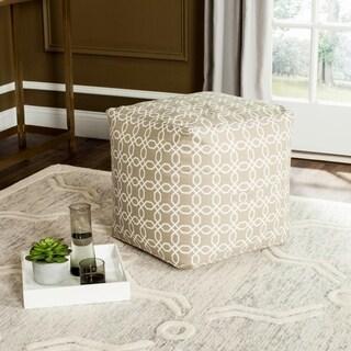 Safavieh Adeline Geo Greige / White Chain Design Pouf