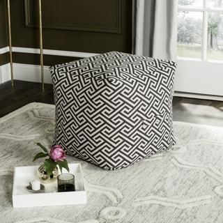 Safavieh Valentina Fret Grey / White Maze Pouf