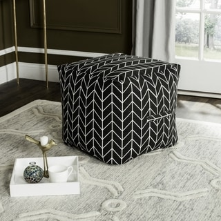 Safavieh French Leaf Black / White Pouf