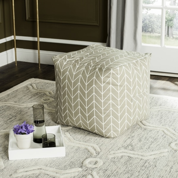 Safavieh French Leaf Greige / White Pouf