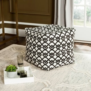 Safavieh Venetian Black / White Diamond Link Pouf