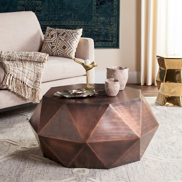 Copper Top Outdoor Coffee Table: Shop Safavieh Astrid Faceted Copper Coffee Table
