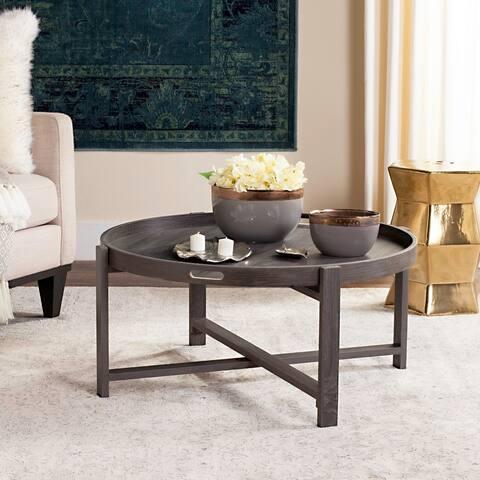 """Safavieh Cursten Rustic Dark Grey Round Coffee Table - 33"""" x 33"""" x 15"""""""