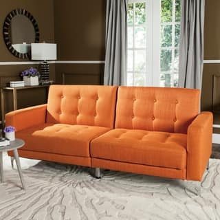 Safavieh Soho Two In One Foldable Orange Loveseat Sofa Bed
