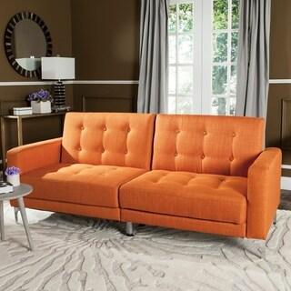 Safavieh Soho Two-in-One Foldable Orange Loveseat Sofa Bed