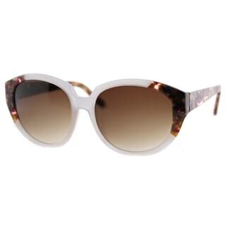 Cynthia Rowley Eyewear Women's CR6023S No. 52 White/Grey Plastic Round Sunglasses