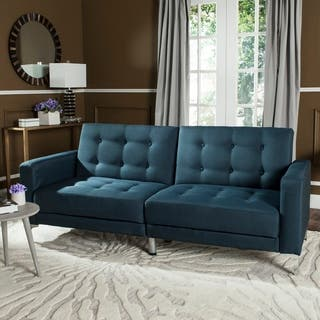 Safavieh Soho Two-in-One Foldable Navy Loveseat Sofa Bed|https://ak1.ostkcdn.com/images/products/12077536/P18943482.jpg?impolicy=medium