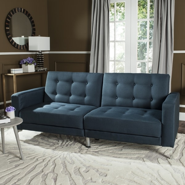 Shop Safavieh Soho Two In One Foldable Navy Loveseat Sofa Bed On