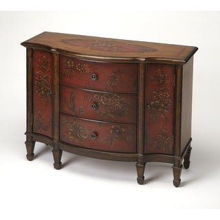 Butler Sheffield Red Hand-Painted Console Cabinet