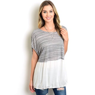Shop the Trends Women's White/Grey Polyester/Viscose Short Sleeve Heathered Top with Contrasted Solid Bottom and Round Neckline
