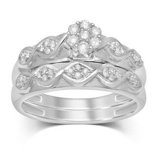 Unending Love 1/3ct TW 10k White Gold 7 Round Diamond Flower Top Bridal Set (IJ I2-I3)