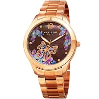 Akribos XXIV Women's Quartz Swarovski Elements Crystal Rose-Tone Stainless Steel Bracelet Watch