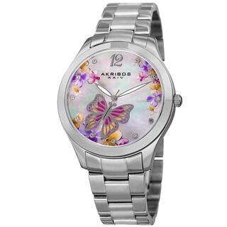 Akribos XXIV Women's Quartz Swarovski Crystal Elements Silver-Tone Stainless Steel Bracelet Watch with FREE GIFT|https://ak1.ostkcdn.com/images/products/12078055/P18944371.jpg?_ostk_perf_=percv&impolicy=medium