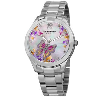 Akribos XXIV Women's Quartz Swarovski Crystal Elements Silver-Tone Stainless Steel Bracelet Watch with FREE GIFT|https://ak1.ostkcdn.com/images/products/12078055/P18944371.jpg?impolicy=medium