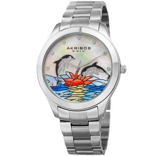 Akribos XXIV Women's Quartz Swarovski Element Crystal Watch with Stainless Steel Bracelet