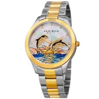 Akribos XXIV Women's Quartz Swarovski Crystal Two-Tone Stainless Steel Bracelet Watch