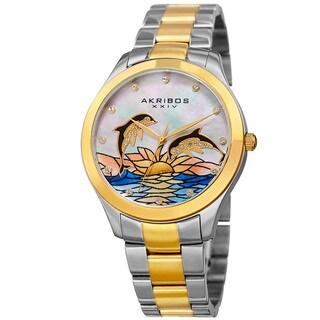 Akribos XXIV Women's Quartz Swarovski Crystal Two-Tone Stainless Steel Bracelet Watch with FREE Bangle
