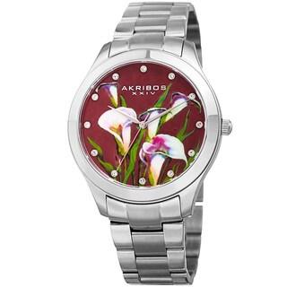 Akribos XXIV Women's Quartz Swarovski Crystal Elements Silver-Tone Stainless Steel Bracelet Watch with FREE GIFT