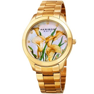 Akribos XXIV Women's Quartz Swarovski Elements Crystal Gold-Tone Stainless Steel Bracelet Watch