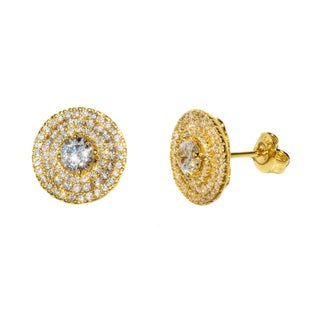 Pori 18k Goldplated Sterling Silver Circle CZ Earrings