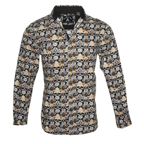 Men's 'Every Rose has a Thorn' Long Sleeve Floral Casual Button Down Shirt by Rock Roll n Soul
