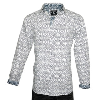 Men's Fashion Geometric Design 'BLUE BAYOU' Button-up Woven Cotton Shirt by Rock Roll N Soul