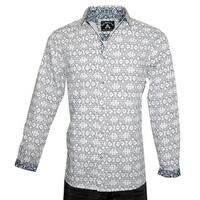 Men's 'Blue Bayou' Geometric Design Long Sleeve Fashion Button Up Cotton Shirt by Rock Roll n Soul