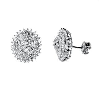 Pori 18k Gold-plated Sterling Silver Cubic Zirconia Oval Floral Earrings