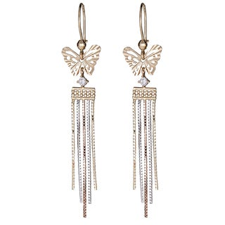 Decadence 14k Gold Tri-color DC Butterfly Chain Dangling Earring with Cubic Zirconia