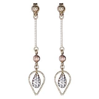 Decadence 14K Tri-color Gold Filigree Teardrop Dangling Earring