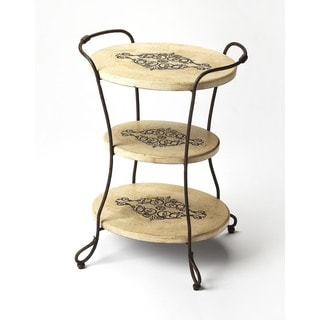 Handmade Butler Silver Fossil Stone Tiered End Table (Philippines)