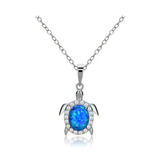 Glitzy Rocks Sterling Silver Created Opal and Cubic Zirconia Turtle Necklace