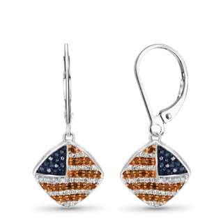JewelonFire 1/3 CT Multi Color Diamond American Flag Earring in Sterling Silver