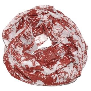 MoDA Women's Red Tree Print Infinity Scarf