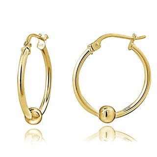 Mondevio Sterling Silver Bead Round Hoop Earrings, 25mm
